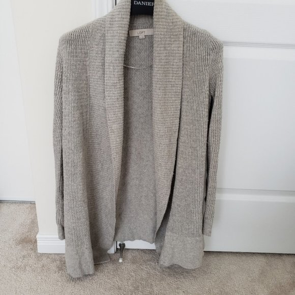 LOFT Grey Collared Sweater Cardigan XS